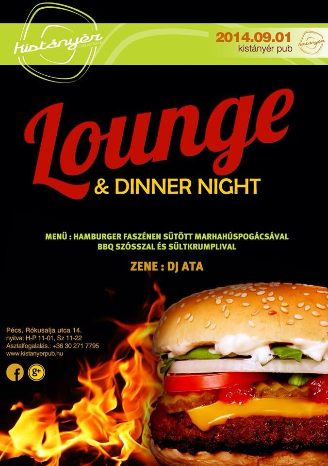 Hétfő este a Kistányérban: Házi készitésű hamburger sültkrumplival, némi zenei aláfestéssel! Gyere és kóstold meg és hallgasd!