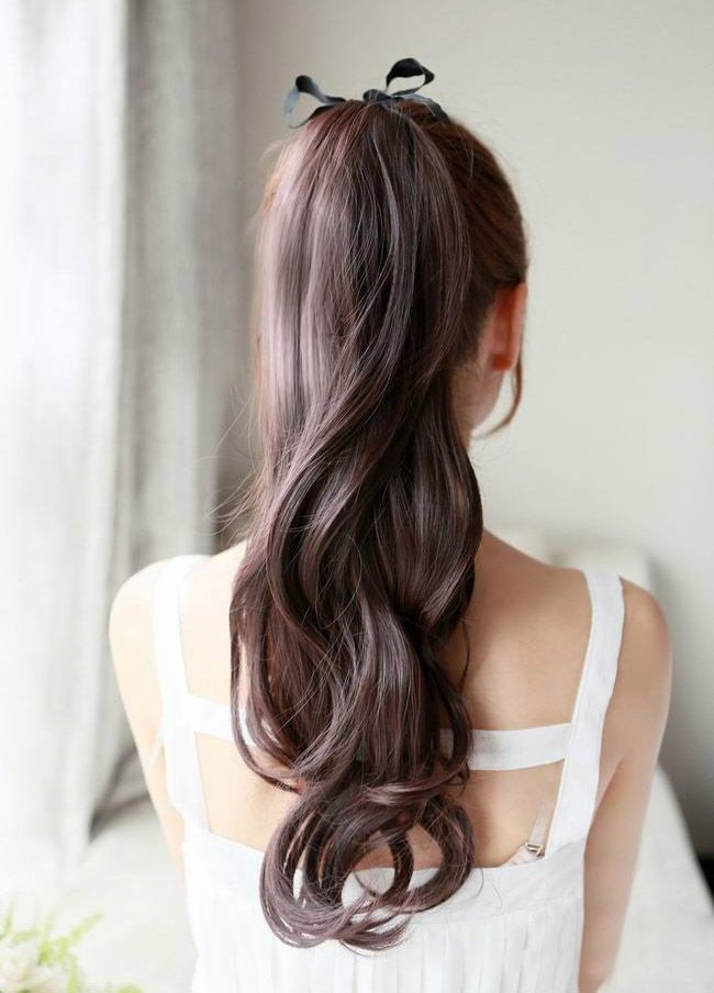 Casual Style Fluffy Long Wavy Women's Synthetic Ponytail, BLACK in Hair Pieces | DressLily.com