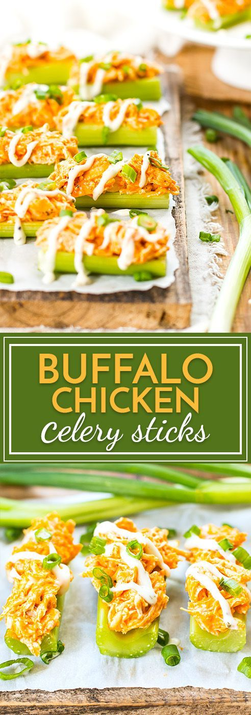 Buffalo Chicken Celery Sticks   Celery sticks are loaded up with spicy buffalo chicken and then covered in ranch dressing for the perfect party snack or Super Bowl appetizer!