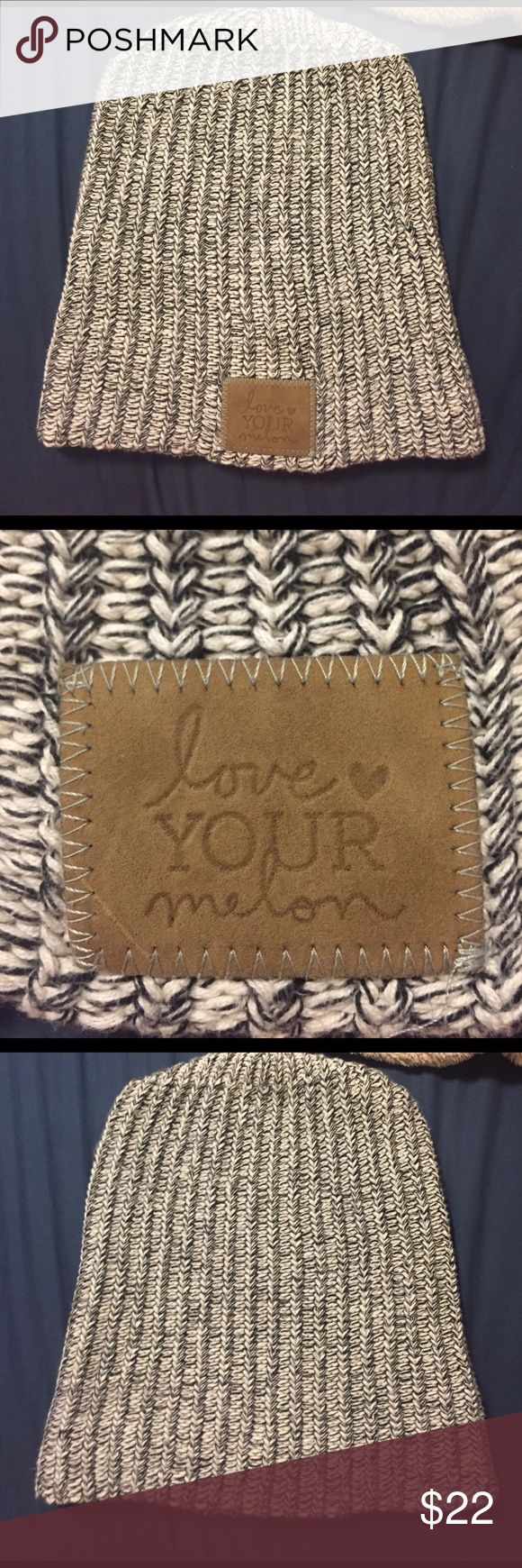 Love your melon beanie Only worn a handful of times, still in great condition. Black and white speckled beanie with olive leather patch! Price negotiable love your melon Accessories Hats