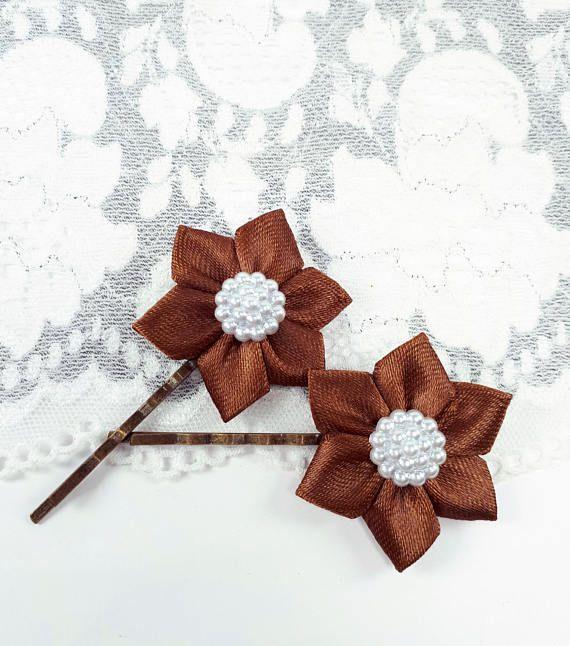 2 brown flower hairpins satin ribbon bobby pins brown hair