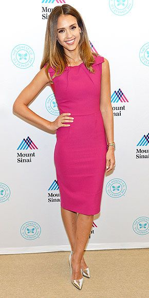 Last Night's Look: Love It or Leave It? | JESSICA ALBA | Attending an event for her Honest Company in N.Y.C., the actress picks a pink Roland Mouret dress with subtle neckline pleats, then gives the pretty piece a little edge with metallic pumps.
