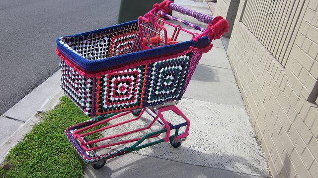 yarn bombed shopping trolley in Dandenong,  Vic.
