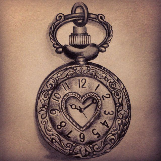 Old Pocket Watch Tattoo Designs To Go With Treasure Chest
