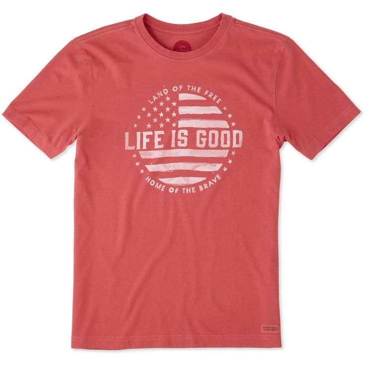 Life is Good Men's Land of the Free Crusher Tee in Americana Red at The Paper Store