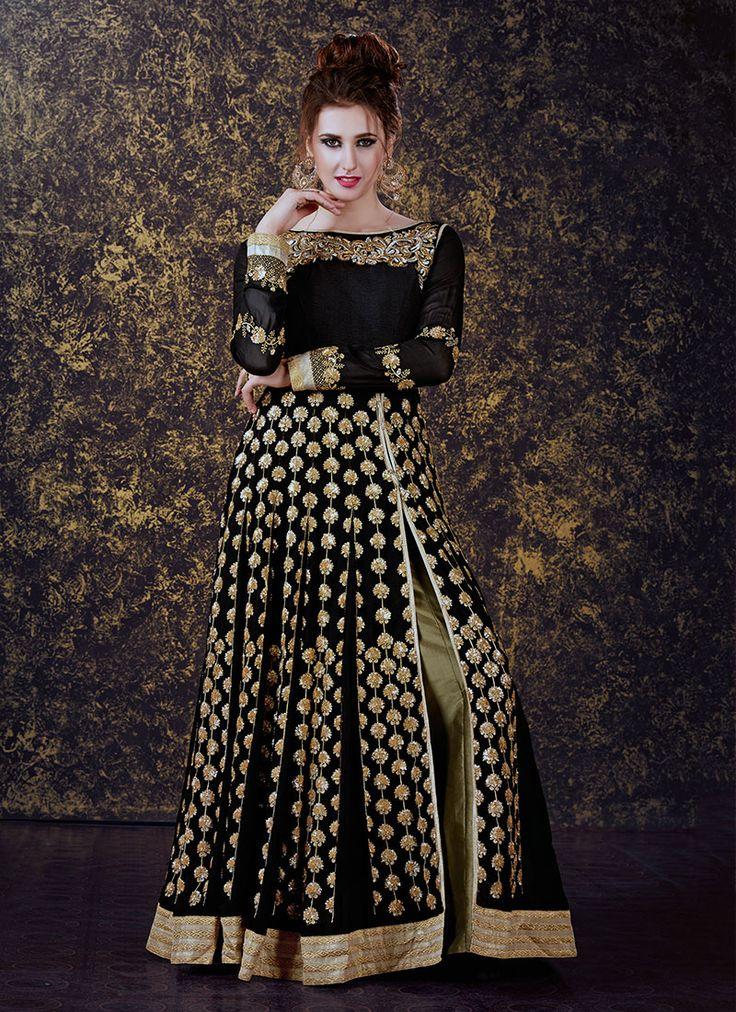 Resplendent Black #Georgette Designer Anarkali Suit - Luxefashion Internet Inc