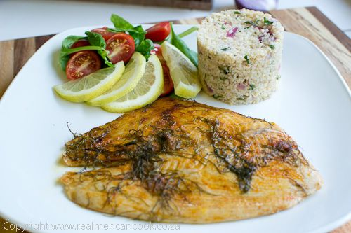 Baked Angelfish with Garlic, Lemon and Herb Bulgur Wheat