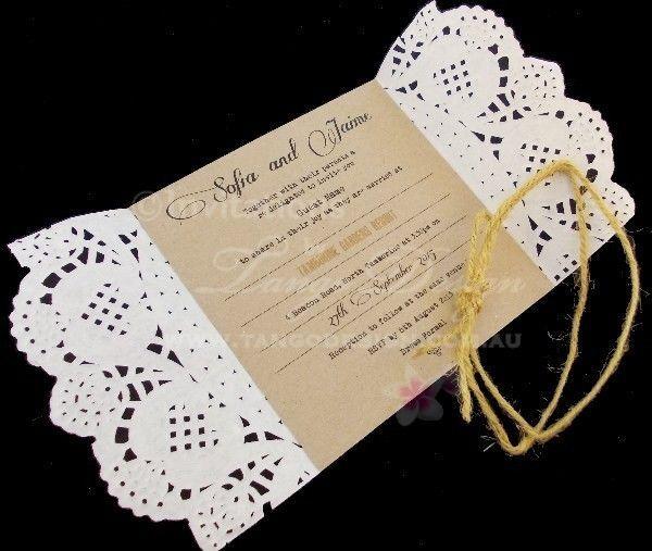 Paper Lace x 1 SAMPLE wedding invitation - Outdoor rustic vintage invitations