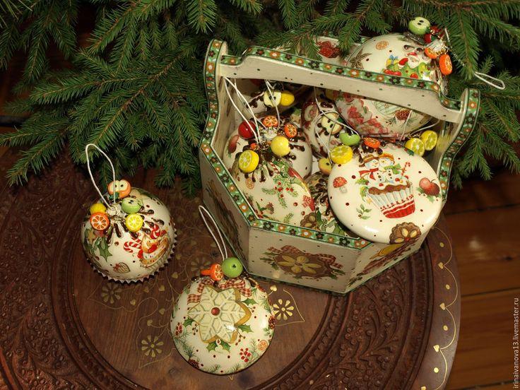 Купить Новогодние елочные украшения Фруктовый фейерверк(12 предметов+корзина) - елочные игрушки, елочные украшения