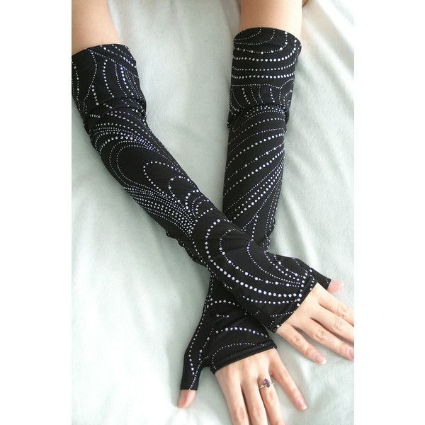 Night of the Winter Solstice armwarmers - black with silver glitter... ($22) ❤ liked on Polyvore featuring accessories, gloves, jersey gloves, goth gloves, glitter gloves, beaded gloves and silver gloves