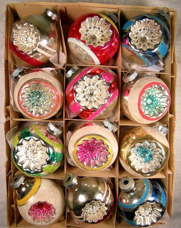 Vtg SHINY BRITE Mercury Glass XMAS Ornaments MICA INDENTS w/ Box