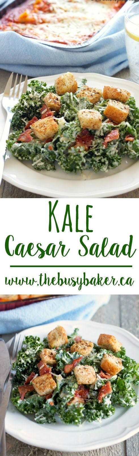 This Kale Caesar Salad with Bacon and Homemade Croutons is the perfect side dish for your next family meal!  #STOUFFERSGOODNESS #CollectiveBias