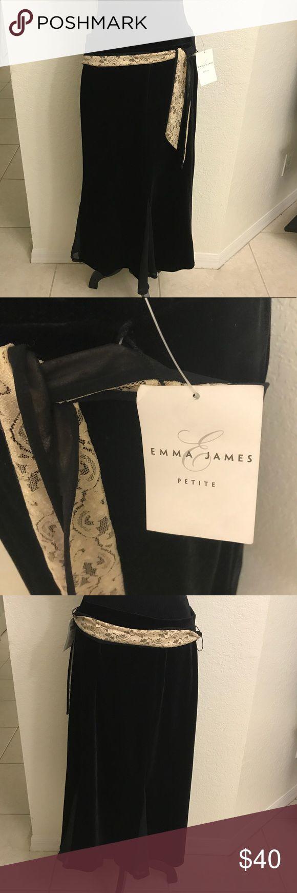 Emma James Petite Black w/ Lace Belt Skirt Size XL NWT Emma James Petite Black Skirt with cream colored lace belt size XL. Emma James Skirts