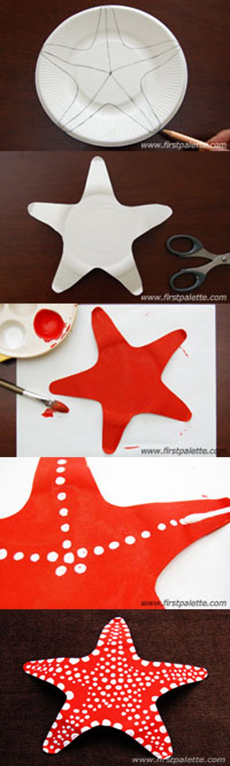 Nice and awesome starfish art for kids http://www.firstpalette.com/Craft_themes/Animals/paperplatestarfish/paperplatestarfish.html