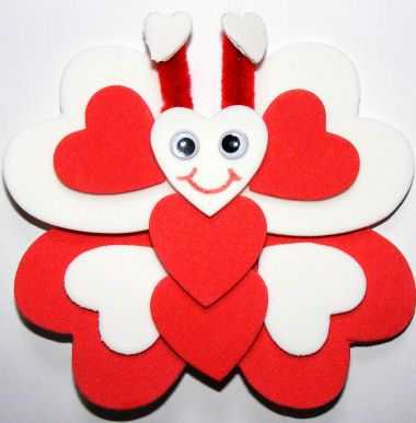 Butterfly Magnet - think how beautiful this would be with a variety of coloured hearts.