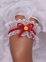 """Подвязка невесты """"Стиляга"""" кружево №56 (6 см), белый/красный"""