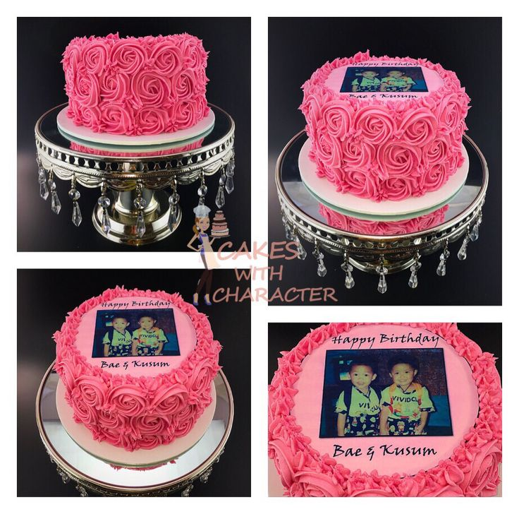 Pink Buttercream rose cake with edible image