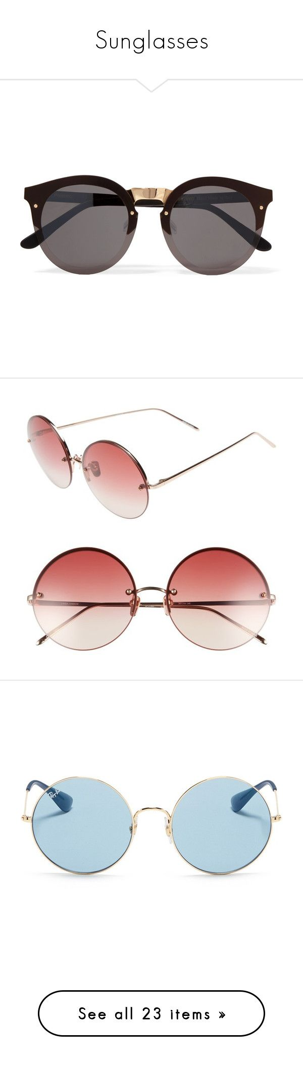 """""""Sunglasses"""" by manicmandy ❤ liked on Polyvore featuring accessories, eyewear, sunglasses, glasses, jewelry, black, lens glasses, gold colored glasses, round sunglasses and matte glasses"""