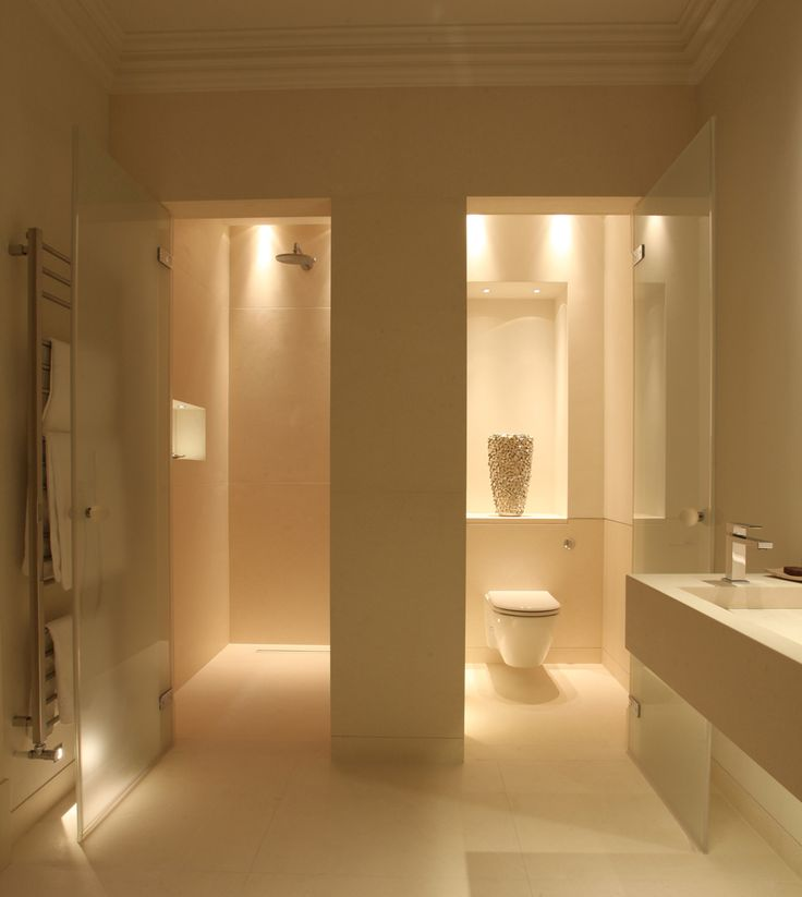 Bathroom Layout and gorgeous lighting.