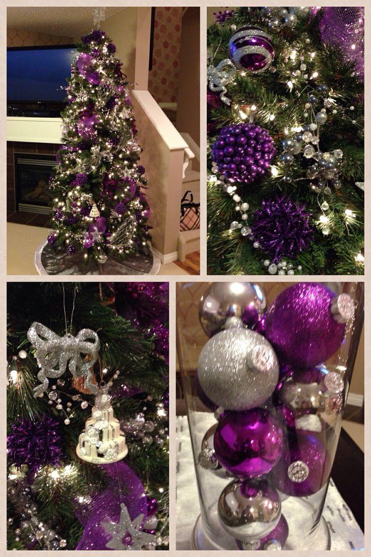 Ideas para decoracion de navidad plata con morado - Arbol de navidad morado ...