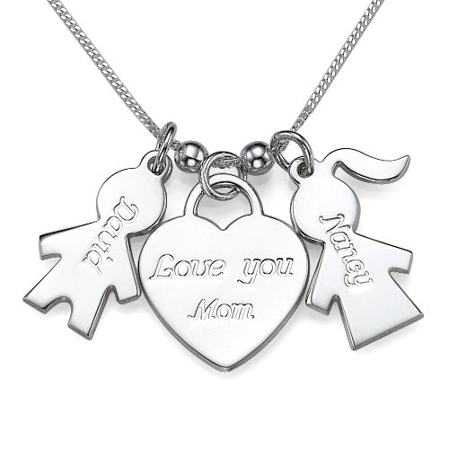 Personalized Kids Charm Necklace with Love You Mom Heart Pendant