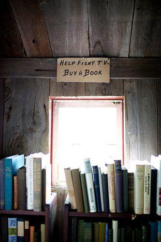 Help fight tv - buy a book! Owl Pen Books, Greenwich, New York, USA.
