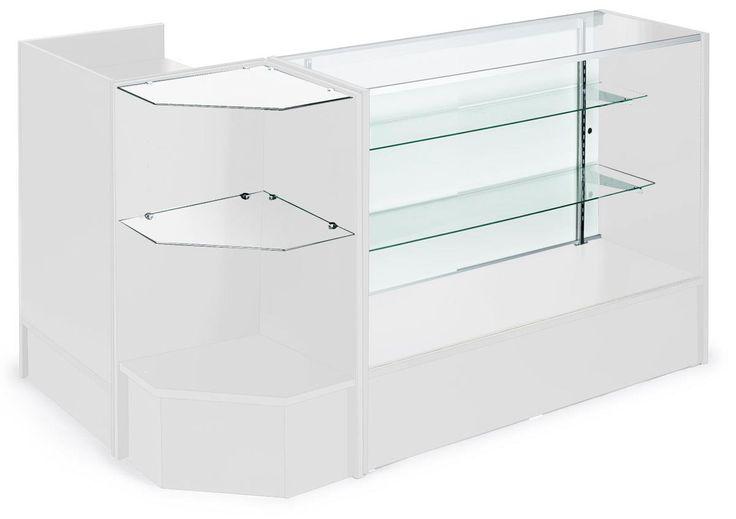 Corner Retail Counter w/ Adjustable Tempered Glass Shelves & White Finish