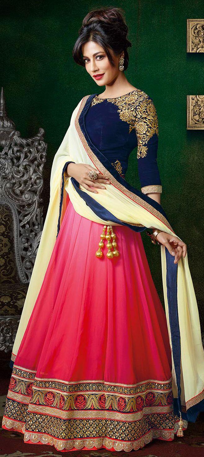 157394: Pink and Majenta color family Bollywood Lehenga.