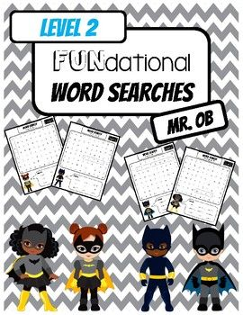 Fundational Phonics Word Searches Level 1 Super Hero Themed! Word searches for Units 1-14 Enjoy! Clipart courtesy of Alefclipart: http://www.teacherspayteachers.com/Store/Alefclipart Check Out: FUNdational Phonics - Trick Words Level 1 Word SearchesFUNdational Phonics - Trick Words Level 3 Word Searches...
