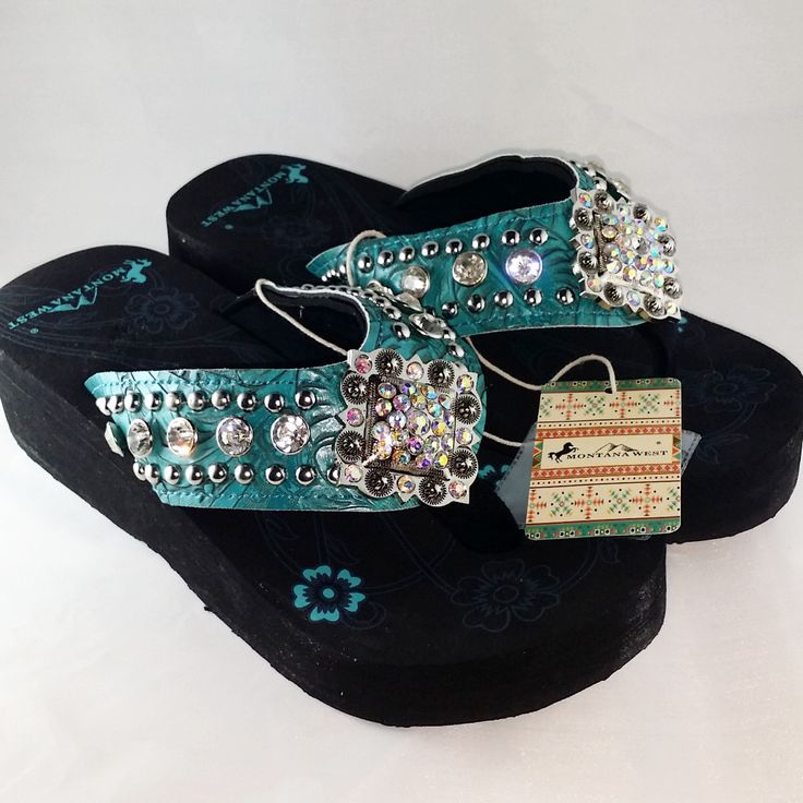 Montana West Womens Wedge Bling Flip Flop Sandals - Turquoise