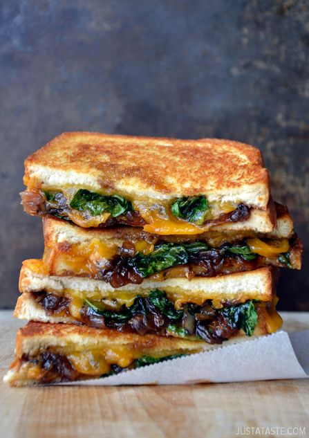 Grilled Cheese w/ Caramelized Balsamic Onions (Grown-Up Grilled Cheese Sandwich Recipe | Just a Taste)