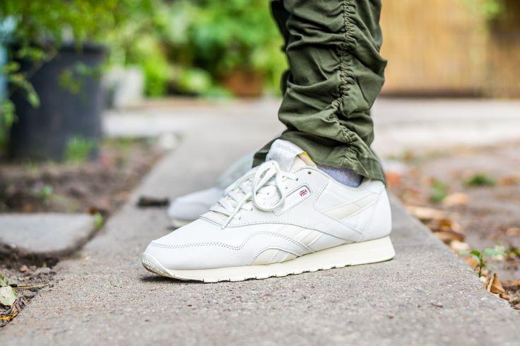 9efc92dce8a Reebok Classic Nylon Chalk On Feet Sneaker Review