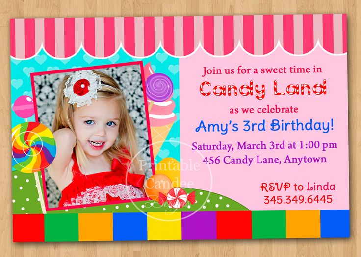 38 best candyland party images on pinterest | birthday party ideas, Birthday invitations