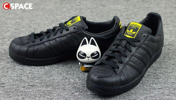 Adidas Originals Homme/Femme Superstar Pharrell Supersh Noir S83345 Adidas Pas cher Color Core noir/ Core Black NOir/ jaune (S83345).