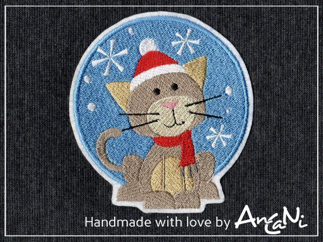 Aufnäher Weihnachts-Katze ♥ Katze ♥ Weihnachten von AnCaNi auf DaWanda.com