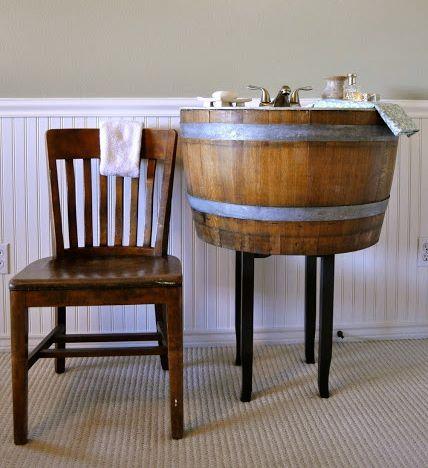 Best Wine Barrels Images On Pinterest Rustic Bathrooms - Wine barrel bathroom vanity for bathroom decor ideas