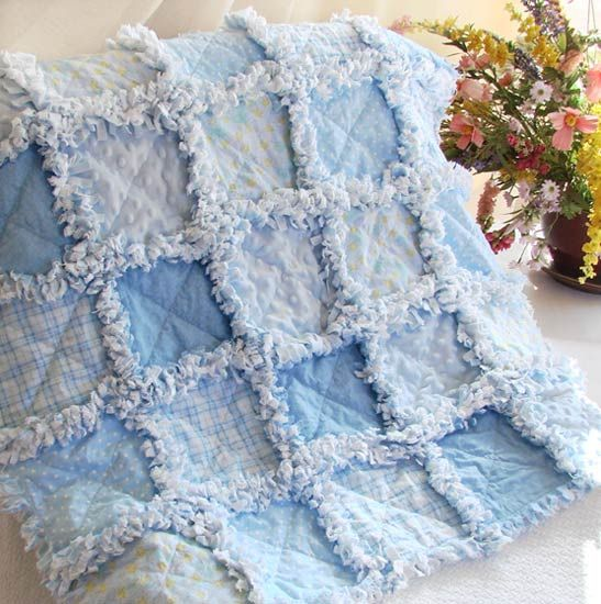 Minky and flannel baby quilt  http://www.quiltsjust4kids.com/item_542/Soft-Blues-Minky-and-Stars-Baby-Rag-Quilt.htm