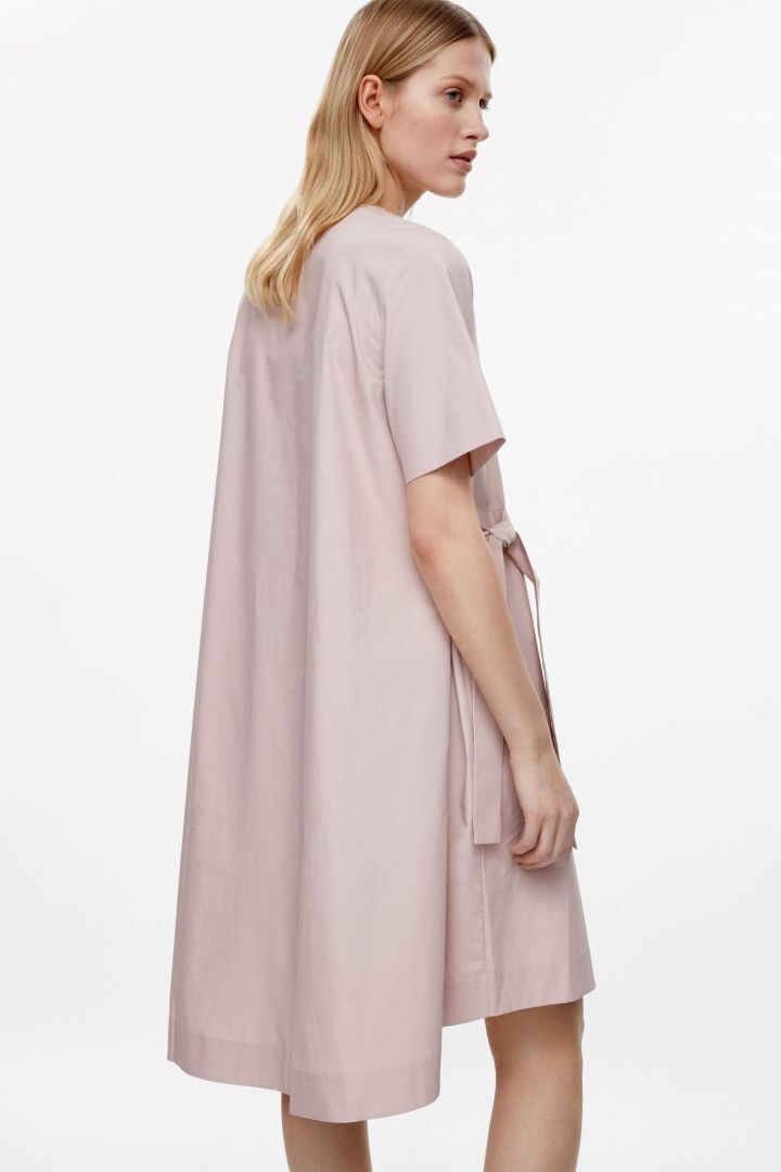 COS image 8 of V-neck dress with tie belts in Pale Pink