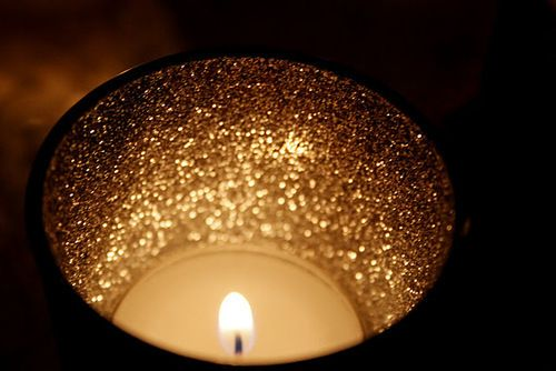 Candle holder: glitter the inside, paint the outside black