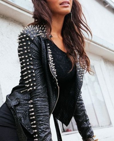 Studded spiked black leather heavy metal rock emo punk music clothes clothing style goth gothic ERMAGERD I WANT THIS!!
