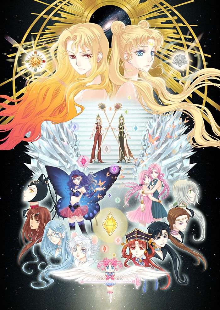 Silver Moon Crystal Power Kiss!, All five Sailor Moon arcs as depicted by靄羅