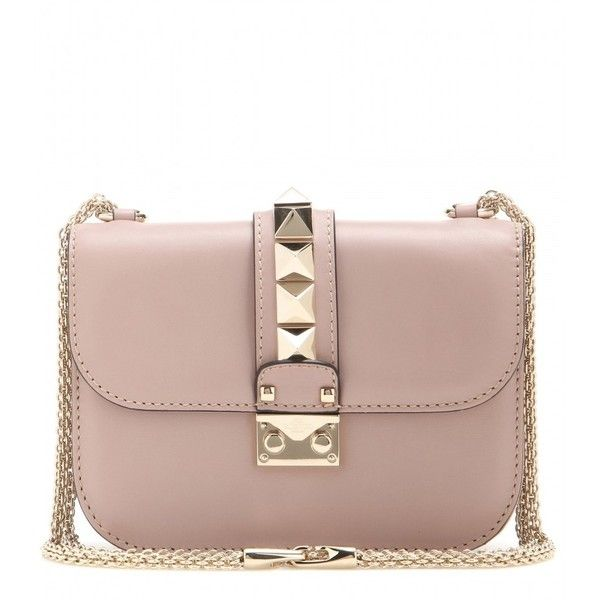 Valentino Lock Small Leather Shoulder Bag found on Polyvore featuring bags, handbags, shoulder bags, neutrals, lock handbag, leather handbags, genuine leather purse, locking purse and real leather purses