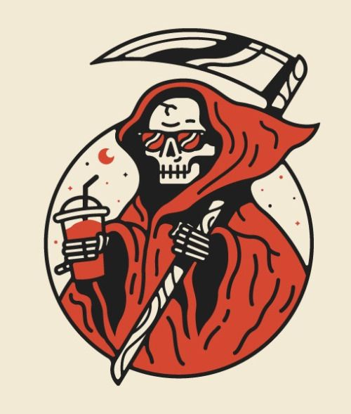 Grim reaper, chill, illustration, slushi, icee, red, white, black, tattoo, sunglasses, sickle, circle, moon, cape, hood, skeleton, skull