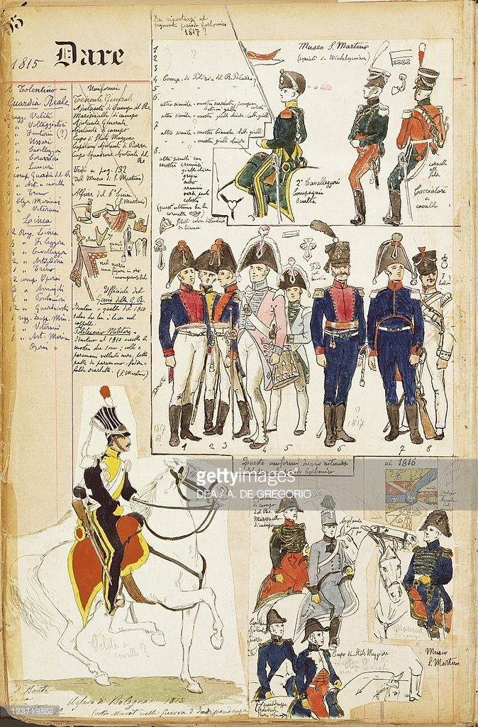 Foto stock : Various uniforms, by Quinto Cenni, color plate, circa 1815