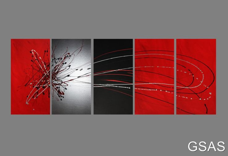 5 ABSTRACT CANVAS PAINTING red black silver. Modern wall art artwork