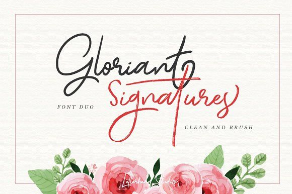 Gloriant Signature Script Font with two type of font : clean and brush! Both of them looks nice and elegant, naturally made by hand writing. This font is suitable for any design purposes such as logo, headline, quotes, apparel, wedding invitation, and of course as your digital signature