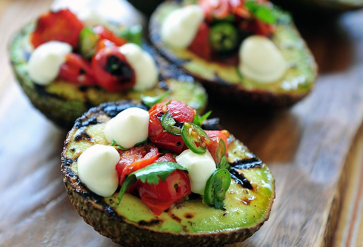 Grilled Avocados with Blistered Tomato Salsa - Beverly Meyer, San Antonio Nutritionist | On Diet and Health | Primal Diet Radio | Paleo Diet Recipes