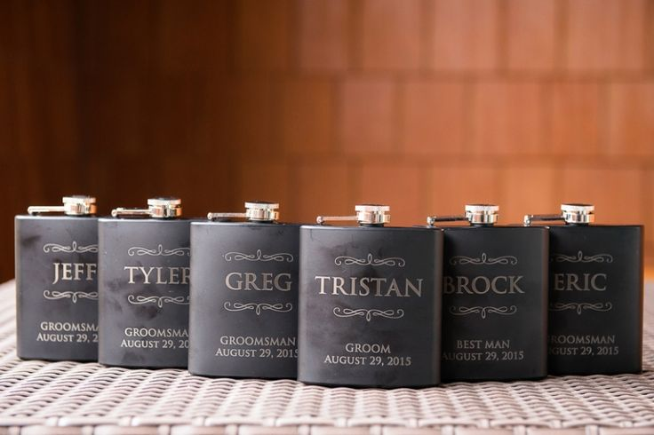 Custom engraved flasks | modern canmore mountain wedding | Naturally Chic Wedding Planning + Styling, Kim Payant Photography