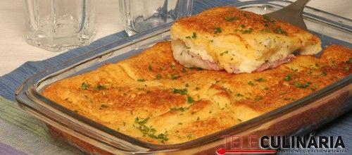 Receita de Soufflé de queijo e fiambre. Descubra como cozinhar Soufflé de queijo e fiambre de maneira prática e deliciosa com a Teleculinária!