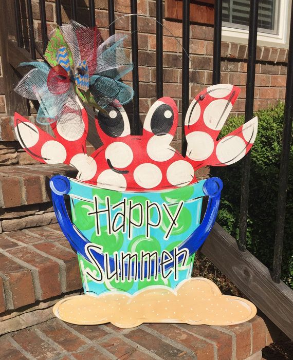 This adorable door hanger will help you make it until youre sitting on a beach! ) Its 24 tall and hand painted. Its topped with a protective enamel. & 2651 best Door hangers images on Pinterest   Wooden door hangers ... pezcame.com